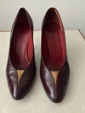 YSL Yves Saint Laurent heel shoes Wine Red Leather