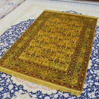 YILONG 4'x6' Traditional Gold Carpet Living Room HandKnotted Silk Area Rug 076B