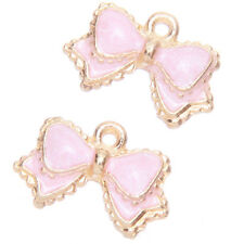 20x Hot Selling Fashion Pink Enamel Gold Plated Alloy Bowknot Charms Pendants L