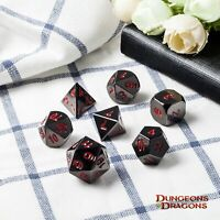 Metal Dice Set DND RPG MTG Role Playing Game Dungeons & Dragons D&D, Red
