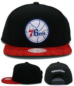 Philadelphia 76ers New Mitchell & Ness Team Pitch Black Red Era Snapback Hat Cap