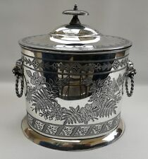 Vintage Walker & Hall Edwardian Silver Plated Biscuit Tin or Tea Caddy