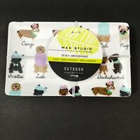Max Studio Melamine Appetizer Plates Dogs Dachshund Scottie Corgi Pug Set of 4