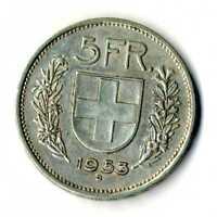 Moneda Suiza 1953 B 5 francos suizos plata .835 silver coin