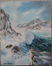 Carmel, CA-1960's-Oil-Crashing Sea With Rocks-Signed-Nancy Johnson