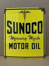 Vintage Porcelain Sunoco Motor Oil Sign Mercury Made Sun Oil Company Gas Pump
