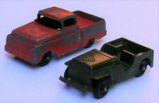1950s Tootsie Toy Army Jeep & Ford Pickup, 2 ea. 1/64 Scale, Diecast.