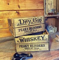 Wooden Peaky Blinders Shelby Bros Birmingham Whiskey or Gin Crate Box Storage