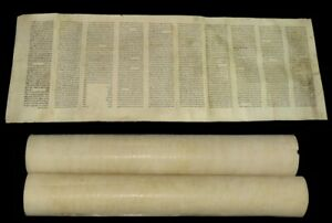 Complete Ancient Esther Scroll Megillah Handwritten On Parchment 100 yrs Poland