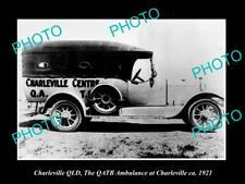 OLD POSTCARD SIZE PHOTO OF CHARLEVILLE QUEENSLAND THE QATB AMBULANCE CAR c1921