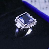 Gorgeous Women Wedding Rings 925 Silver Princess Cut Blue Sapphire Size 6-10