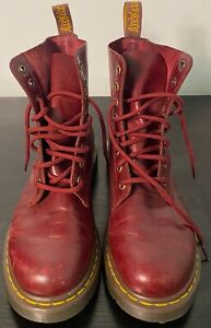 Dr Martens Pascal Air Wair women's cherry red 8 eyelet leather combat boots sz 8