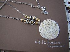 """Sundial"" Long Necklace N3100 $129 Silpada Sterling Silver, Brass, Reversible"