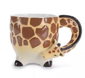 🦒Giraffe Shaped 3D Novelty Animal Safari Mug Cup Tea/Coffee Hand Painted Gift