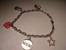 Wonderful .925 Sterling Silver Diamond Shoe Heart Mom Star Charm Bracelet