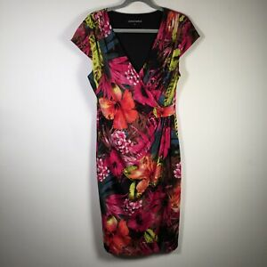 Anthea Crawford womens multicolour floral crossover wrap dress size 14 short slv