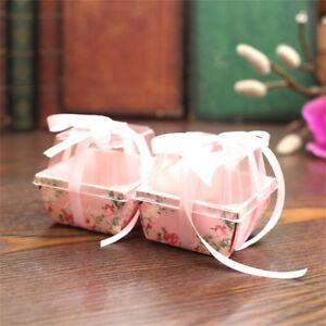 10-100PCS Flower Heart Favor Ribbon Gift Box Candy Boxes Wedding Party Decora