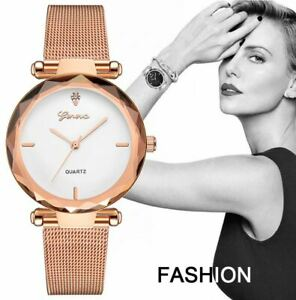 GENEVA Women Ladies Watch Rose Gold Stainless Steel Mesh Strap Wrist Watches UK