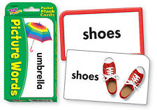 Picture Words Pocket Flash Cards - Sturdy Educational 2 Sided Cards