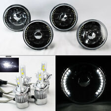 "FOUR 5.75"" 5 3/4 Round H4 Blk/Chm DRL Glass Headlights w/ 36W LED H4 Bulbs Ponti"