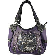 PURPLE BIBLE LOVE QUOTE RHINESTONE SHOULDER HANDBAG CONCEALED CARRY PURSE