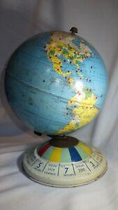 "Vintage Tin Litho Reploge 8"" Magnetic Air Race Globe Metal Gustav Brueckmann"