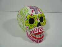 Small Colorful Ceramic Hand Painted Sugar Skull Day of the Dead Mexico