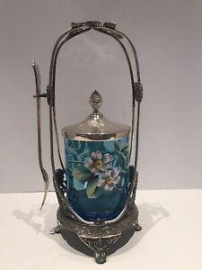 FLORAL ENAMEL Antique PICKLE CASTOR SKY BLUE THUMBPRINT FOOTED.1890's