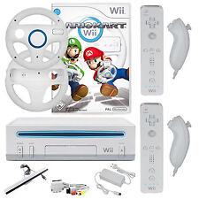 Original Nintendo Wii Konsole Mario Kart 2x Remote 2x Nunchuck 2x Lenkräder Weiß