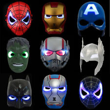 Super Heroes Hulk Batman Captain America Spiderman Iron Man Figures LED Mask Toy