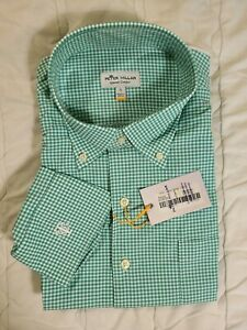1 NWT PETER MILLAR MEN'S SHIRT, SIZE: LARGE, COLOR: GREEN/WHITE PLAID (J66)
