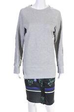 TOV Womens Layered Look Pleated Back Sweatshirt Dress Gray Black Size Euro 42