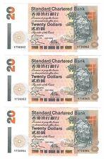 HONG KONG 3 Consecutive SCB $20 Dollar AU Banknotes (1995) P-279a Y Prefix