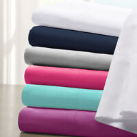 1000tc 4 PCs Attached Water Bed Sheet Set 15 Inch King Size Solid Colors
