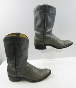 Mens Two-Toned Grey Leather Round Toe Western Boots Size : 9 D