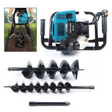 52cc Post Hole Digger 2 Stroke Gas Powered Earth Auger Fence Borer2drill Bits