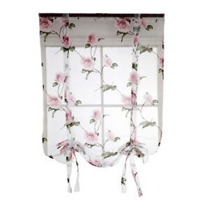 Elegant Flower Short Roman Curtain Tie-up Shade Sheer Voile for Small Window