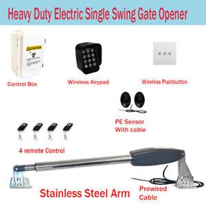 Electric Single Swing Farm Gate Opener Automatic Motor Remote Control Keypad