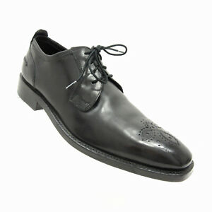 Cole Haan 9M Calf Leather Mens Black Oxford Shoes Medallion Toe