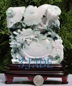 Certified Natural Jadeite Jade Carving / Sculpture: Lotus Dragon Turtle Statue