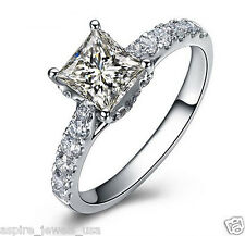1.80 CT PRINCESS CUT BEAUTIFUL SOLITAIRE ENGAGEMENT RING SOLID 14KT WHITE GOLD