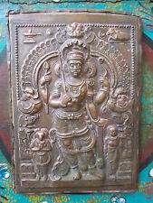 Rare Ancienne Plaque Votive en Cuivre , Shiva ,  Inde XIX°