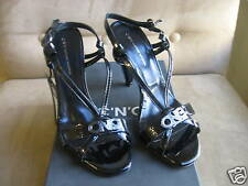COSTUME NATIONAL BLACK PATENT LEATHER SANDALS 39.5 9.5
