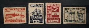 POLAND - 1945 Maritime League Set of 4 - MH