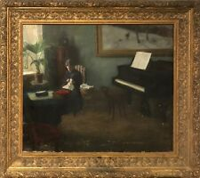 CLASSICAL INTERIOR WITH WOMAN AND GRAND PIANO