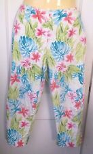 Women's Tropical Floral Print Capri CROPPED Pants by Eric Casual 30 x 21 Size 12