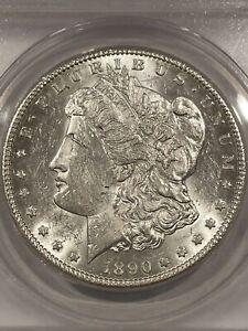 1890-CC BRIGHT WHITE COIN ANACS AU58