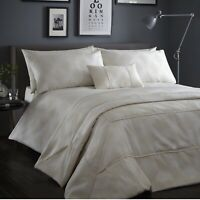 Audley Cream Double Bed Duvet Cover Jacquard Geometric Diamond Quilt Bedding Set