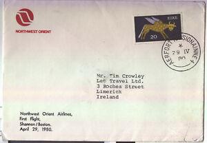 1980 Ireland First Flight Cover Northwest Orient Shannon to Boston postmark rear