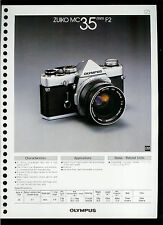 Factory 1978 Olympus Zuiko MC 35mm F2 Camera Lens Dealer Data Sheet Page